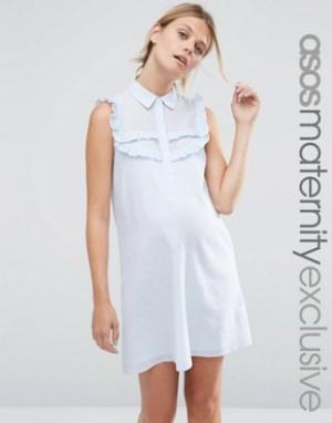 ASOS Maternity Полосатое платье‑рубашка для беременных с рюшами. Цвет: мульти
