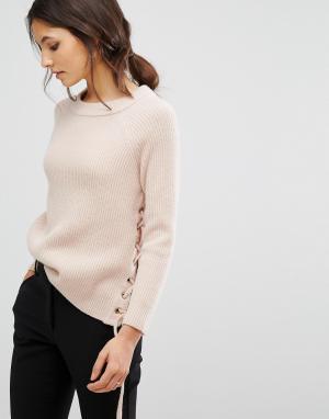 BA&SH Вязаный джемпер со шнуровкой Minus. Цвет: розовый