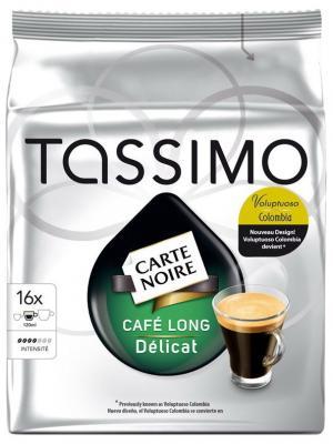 Капсулы Т-диски Tassimo Carte Noire Cafe Long Delicat, 16 порций. Цвет: черный