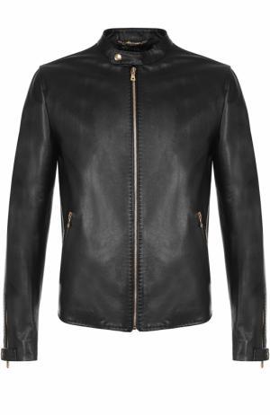 Кожаная куртка на молнии с воротником-стойкой Dolce & Gabbana. Цвет: черный
