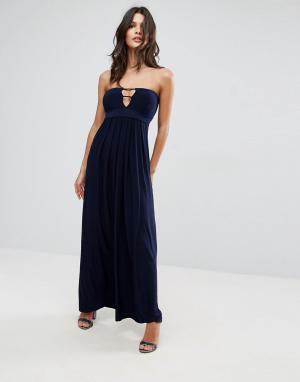City Goddess Длинное платье бандо с отделкой лямками. Цвет: темно-синий