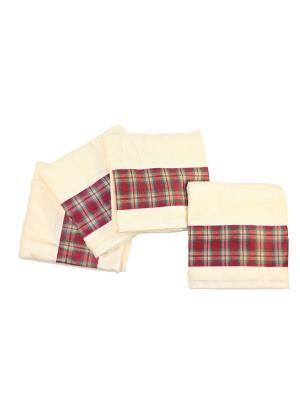 Четыре банных полотенца 127х69 см Blonder Home. Цвет: светло-желтый, красный