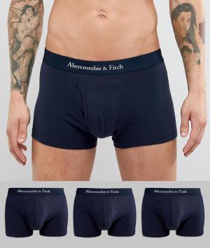 Abercrombie & Fitch Набор из 3 пар темно-синих боксеров‑брифов с логотипом на поясе Abercr. Цвет: темно-синий
