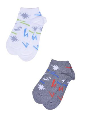 Носки, 2 пары Skinija. Цвет: серый, белый