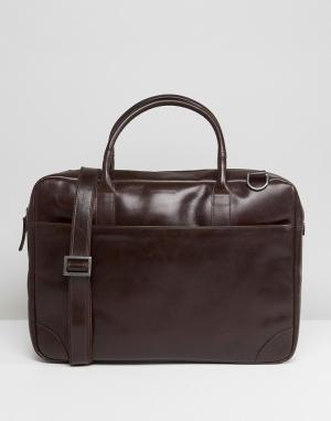 Royal RepubliQ Кожаная сумка для ноутбука с одним отделением Explorer. Цвет: коричневый