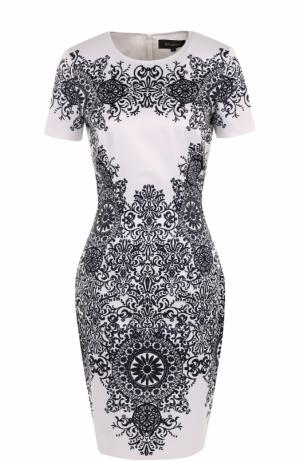 Приталенное мини-платье с принтом St. John. Цвет: темно-синий