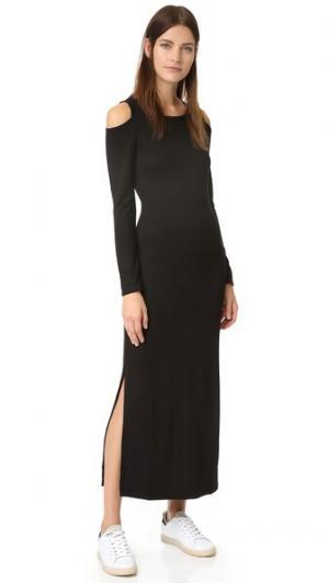 Платье до щиколотки с вырезами на плечах Lanston. Цвет: голубой