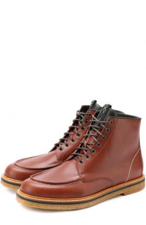 Высокие кожаные ботинки на шнуровке O.X.S.. Цвет: коричневый