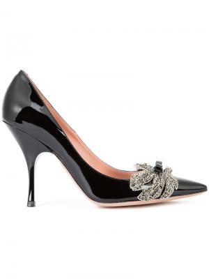 Декорированные туфли-лодочки Rochas. Цвет: чёрный