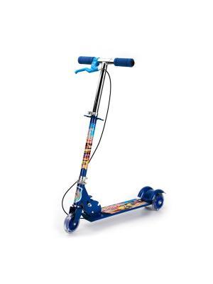 Самокат 3-колесный стальной, колеса пвх 100мм, с ручным тормозом, нагрузка до 25 кг. Next. Цвет: синий