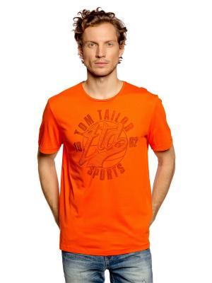 Футболка TOM TAILOR. Цвет: оранжевый