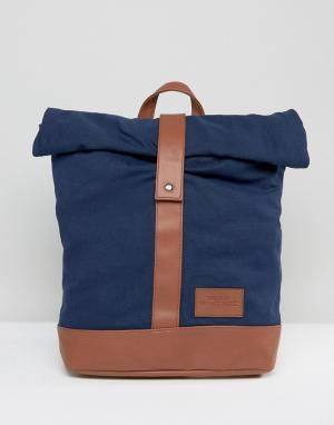 Dead Vintage Темно-синий рюкзак с закатанным верхом. Цвет: синий