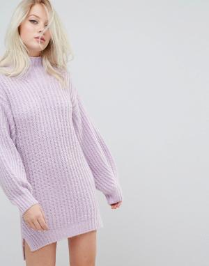 Miss Selfridge Платье-джемпер с воротником поло. Цвет: фиолетовый