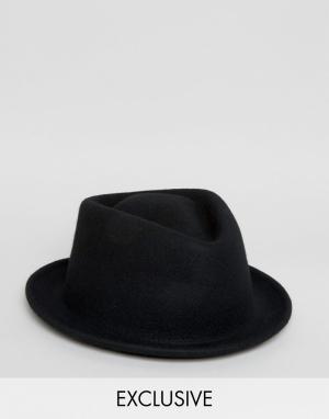 Reclaimed Vintage Черная шляпа с загнутыми кверху полями Inspired. Цвет: черный
