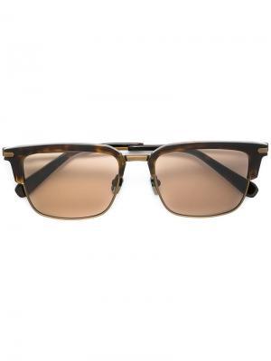 Солнцезащитные очки в половинчатой оправе Brioni. Цвет: коричневый