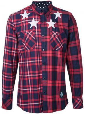 Рубашка в клетку со звездами Guild Prime. Цвет: красный
