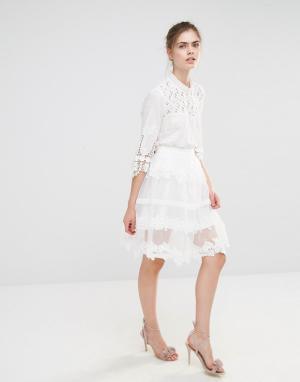 Endless Rose Кружевная юбка миди. Цвет: кремовый