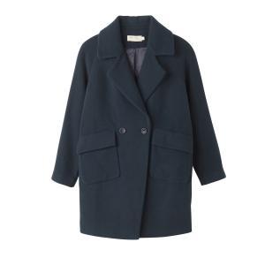 Пальто женское средней длины прямого покроя SEE U SOON. Цвет: синий прусский