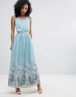 Uttam Boutique Платье макси с плиссированной юбкой и принтом. Цвет: синий