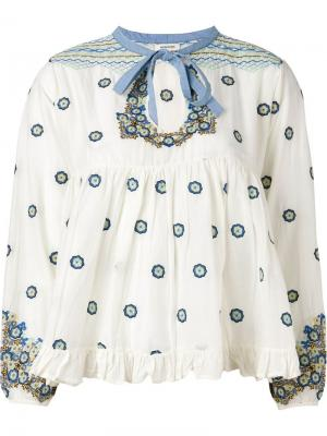 Блузка с оборками Manoush. Цвет: телесный
