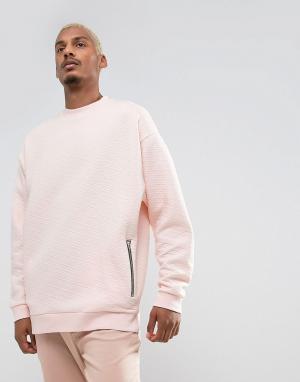 ASOS Свободный стеганый свитшот с карманами на молнии. Цвет: розовый