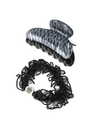 Аксессуары для волос (Заколка-краб, резинка) Migura. Цвет: серый, золотистый, черный