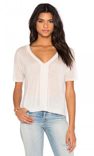 Укороченная футболка с v-образным вырезом и коротким рукавом Enza Costa. Цвет: ivory