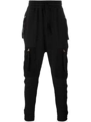 Спортивные брюки с карманами на молнии Blood Brother. Цвет: чёрный