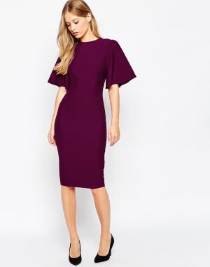 ASOS Платье-футляр с большими рукавами ангел и открытой спиной. Цвет: фиолетовый
