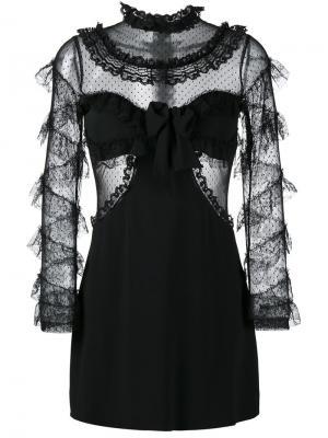 Платье с рюшами Alessandra Rich. Цвет: чёрный