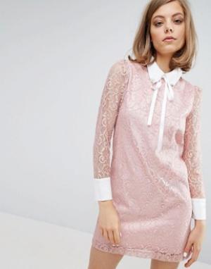 Sister jane Кружевное платье с отделкой на воротнике. Цвет: розовый