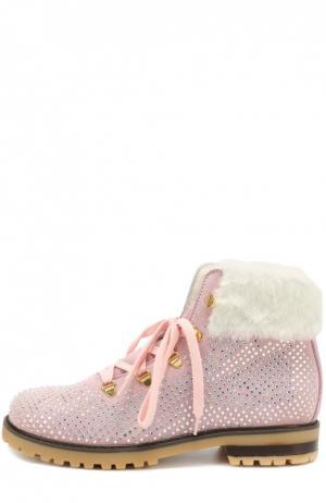 Замшевые ботинки со стразами Monnalisa. Цвет: розовый