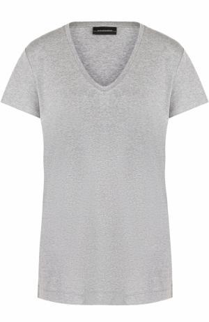 Однотонная футболка с круглым вырезом By Malene Birger. Цвет: серый