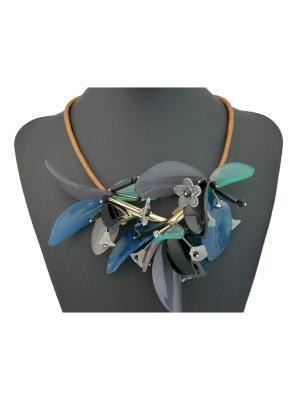Колье Miss Bijou. Цвет: зеленый,коричневый,голубой