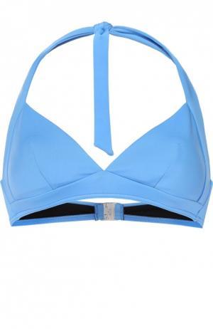 Треугольный бра с контрастной застежкой NATAYAKIM. Цвет: голубой