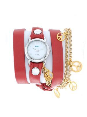 Часы La Mer Collections Charm Peace Gold Red. Цвет: красный