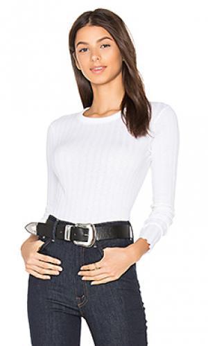 Кашемировая футболка в рубчик с длинным рукавом Enza Costa. Цвет: белый