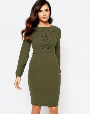 Amy Childs Платье с открытой спиной и лазерной отделкой. Цвет: зеленый
