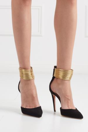Замшевые туфли Hello Lover Aquazzura. Цвет: черный, золотистый