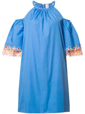 Платье с открытыми плечами Peter Pilotto. Цвет: синий