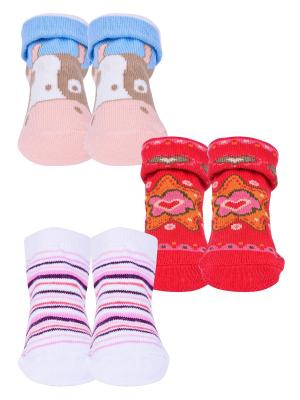 Носки, 3 пары Malerba. Цвет: голубой, белый, красный