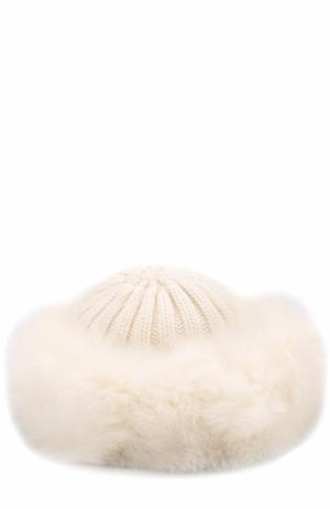 Вязаная шапка из шерсти с меховой отделкой Nima. Цвет: белый