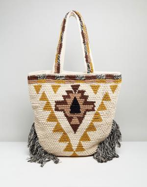 Raga Пляжная сумка с бахромой Laguna. Цвет: бежевый