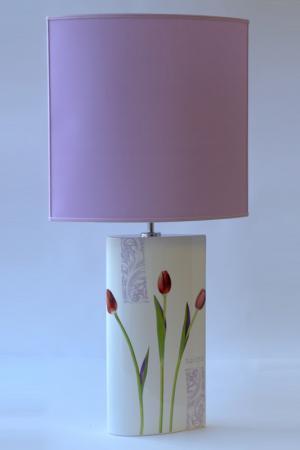 Лампа большая Тюльпаны Ceramiche Viva. Цвет: белый с рисунком