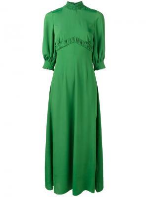 Длинное платье Natasia Emilia Wickstead. Цвет: зелёный