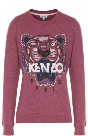 Хлопковый свитшот с вышивкой в виде тигра Kenzo. Цвет: розовый
