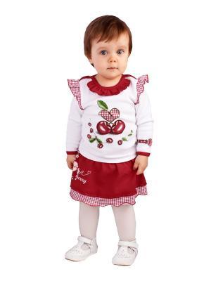 Джемпер, юбка Апрель. Цвет: красный, белый