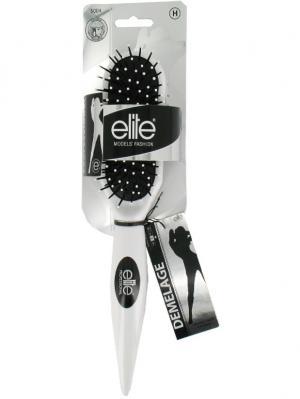 Массажная щетка для волос с пластиковыми зубьями ELITE.. Цвет: белый, серебристый, черный
