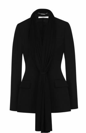 Шерстяной приталенный жакет с декоративной отделкой Givenchy. Цвет: черный