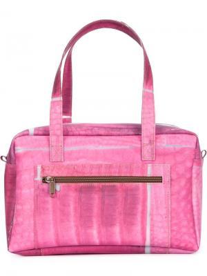 Структурированная сумка-тоут с геометрическим принтом Luisa Cevese Riedizioni. Цвет: розовый и фиолетовый